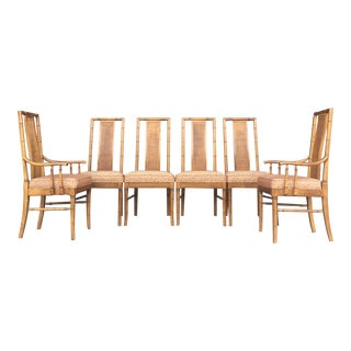 Vintage Set of 6 Faux Bamboo Dining Chairs