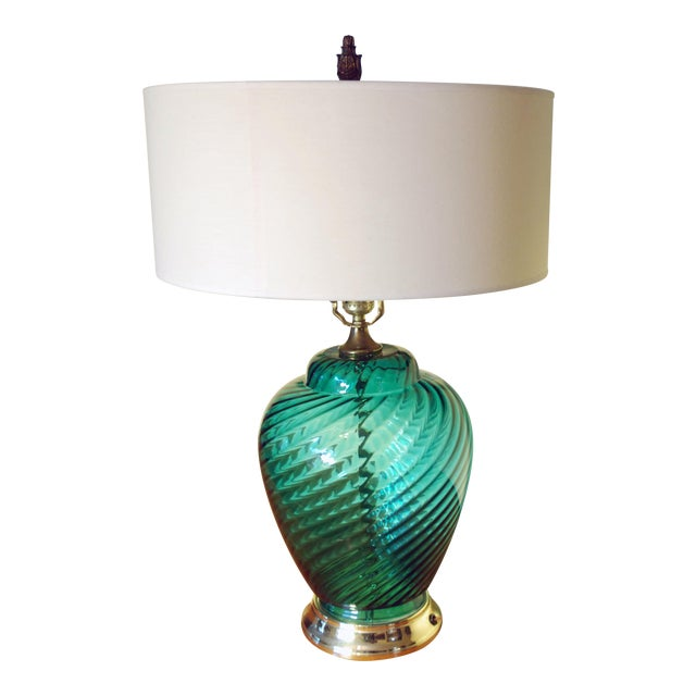 Vintage Green Glass Table Lamp - Image 1 of 4