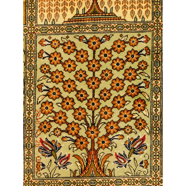 "Hand Knotted Pure Silk Persian Qom Rug - 4'10"" x 4'10"" - Image 6 of 9"