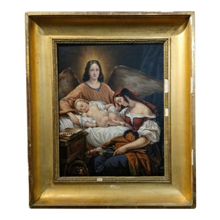 Mother with baby & Archangel -19th century Oil Painting
