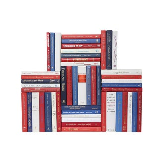 Modern Red, White & Blue Book Wall, S/50