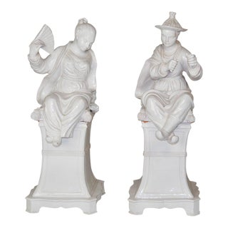 Large Italian Faience Glazed Chinese Figures on Pedestals - A Pair