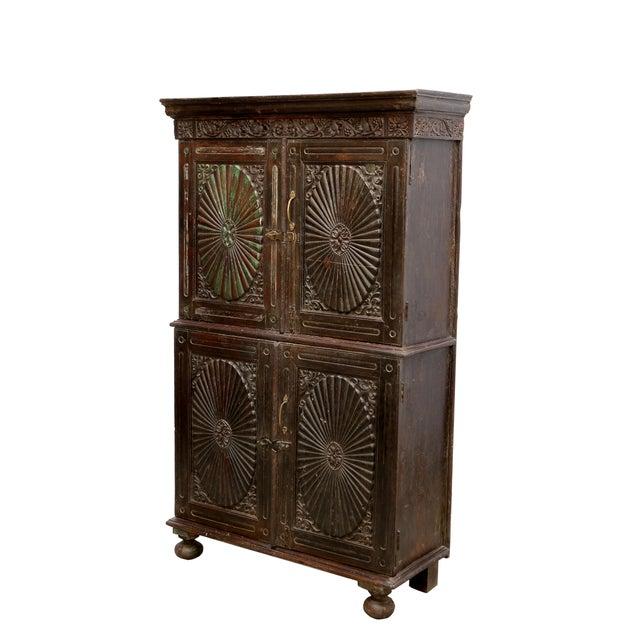 Image of Antique Indo Portuguese Sunburst Armoire Cabinet