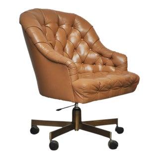 Dunbar Tufted Leather Desk Chair on Bronze Base by Edward Wormley