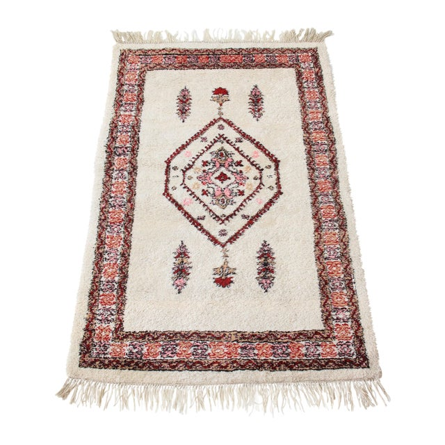 Vintage Pink & White Moroccan Rug - 3′11″ × 5′10″ - Image 1 of 7