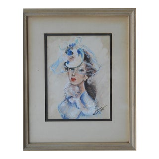 Mid-Century Modern Painting-Pretty Woman In Blue-Signed