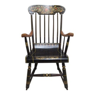 Antique Plank Bottom Paint Decorated Petite Rocking Chair
