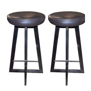 Industrial Iron Bar Stools - A Pair