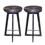 Image of Industrial Iron Bar Stools - A Pair