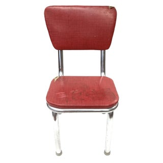 Mid Century Modern Red Vinyl Accent Chair