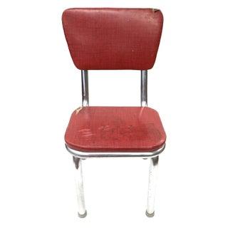 Mid Century Modern Red Vinyl Accent Chair