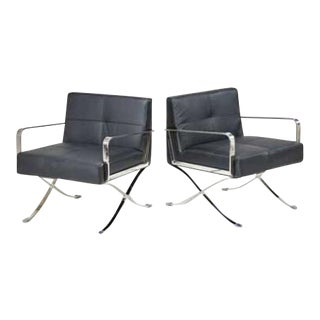 Leather & Chrome Office Chairs - a Pair