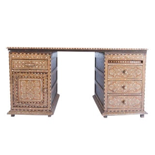 Anglo-Indian Rosewood Bone Inlay Desk
