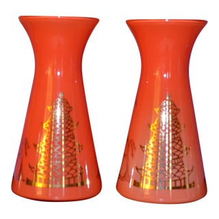 Tangerine Pagoda Vases - A Pair