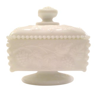 Milk Glass Square Footed Candy Dish