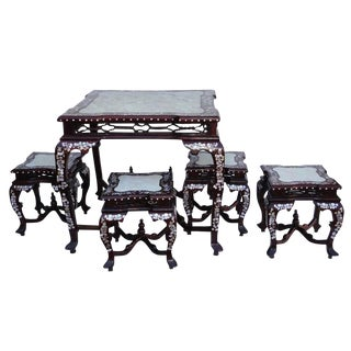 Chinese Square Shape Rosewood Mother Pearl Inlaid Marble Stone Dining Table Set With 4 Chairs