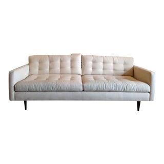Crate & Barrel Contemporary White Tufted Sofa