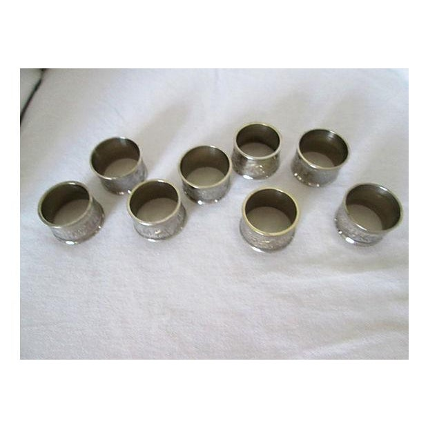 Image of Silverplate Engraved Leaf Napkin Rings - Set of 8