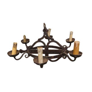 Rustic French Wrought Iron Chandelier