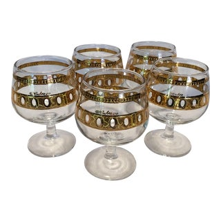 5 Culver Valencia 22 Kt Gold Port Glasses