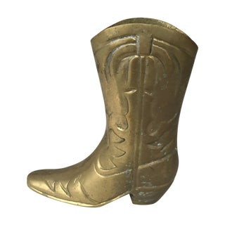 Vintage Brass Cowboy Boot