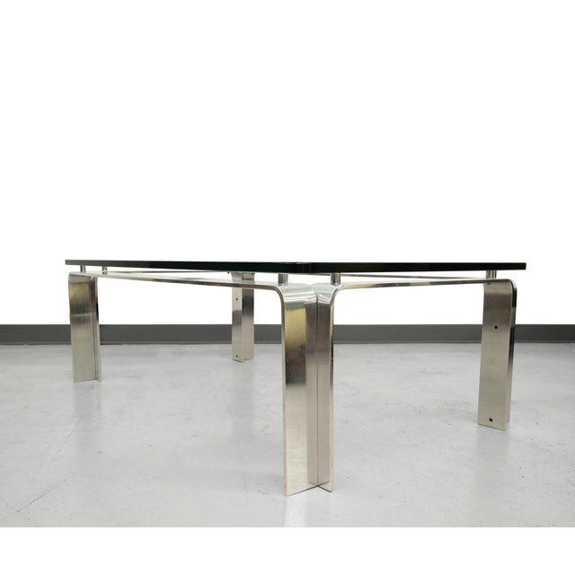 Mid Century Bent Aluminum Glass Coffee Table Chairish