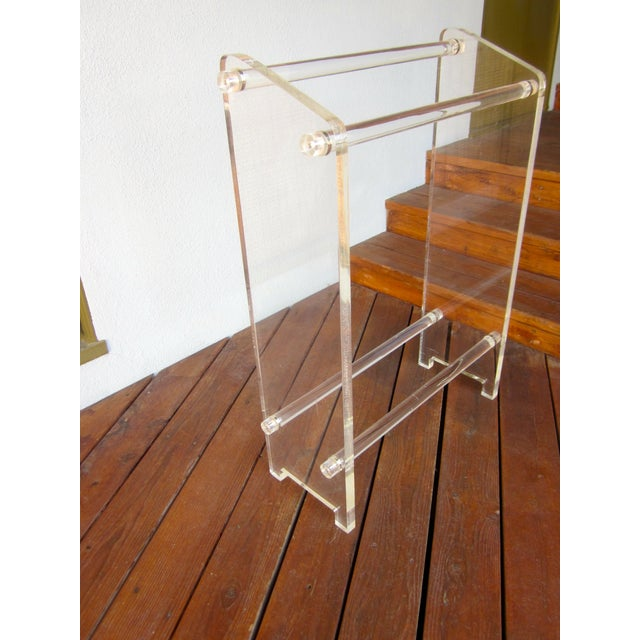 Image of Hollywood Regency Thick Lucite Towel Rack