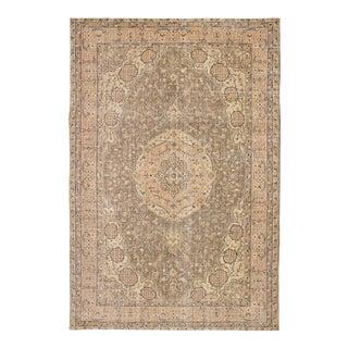 """Hand-Knotted Antalya Vintage Brown Wool Rug - 6'4"""" x 9'7"""""""