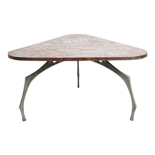 A Brutalist Sculptural Hammered Copper Center Table