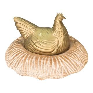 Vintage Sarreid Ltd Brass Chicken on Carved Wood Nest