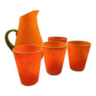 Orange Hand Blown Glass Pitcher and 4 Glasses