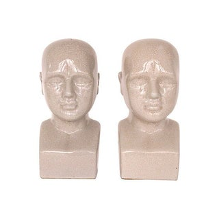 Ceramic Bust Bookends - A Pair