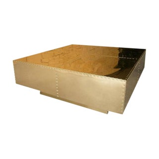 Large Scale Brass Clad Coffee Table by Sarried