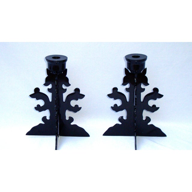 Modern Goth Black Metal Candle Holders - Image 5 of 10