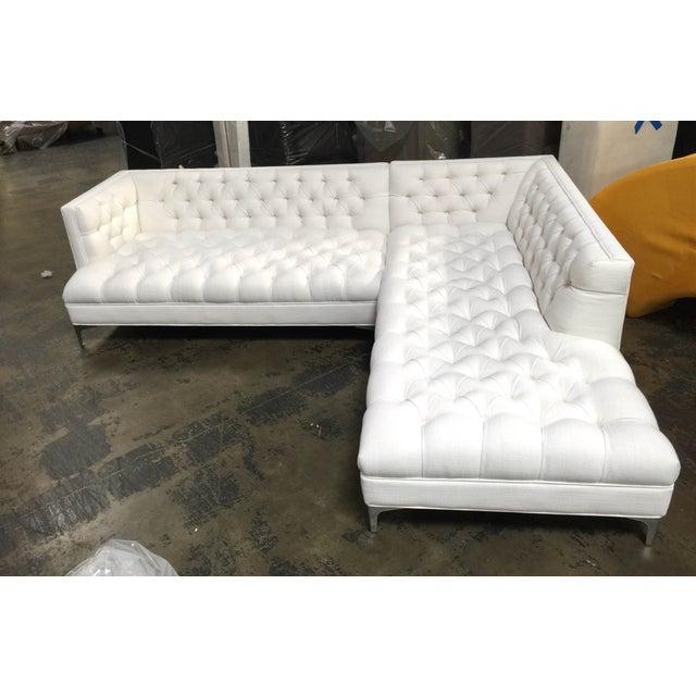 Restoration hardware style tufted white linen sofa chairish for Restoration hardware tufted sectional sofa