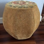 Image of Vintage Octagonal Floral Fabric Ottoman Pouf