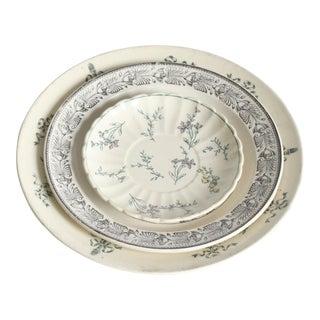 Vintage Green & Black China Plates- Set of 3