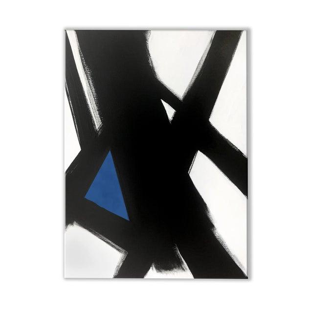 """Black Slash No. 4 Blue"" Original Painting - Image 2 of 3"