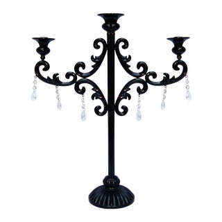 Large Gothic Deco Black Metal Crystal Candelabra