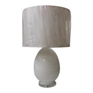 Modern Egg-Shaped White Glass Table Lamp