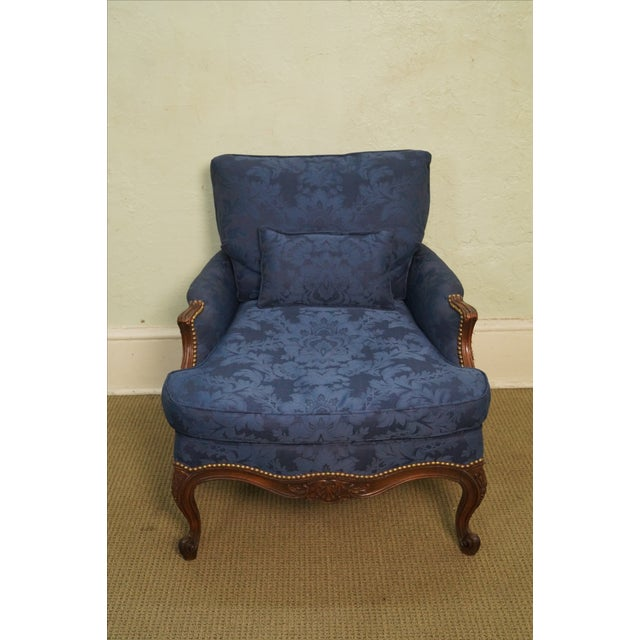 Image of Vintage French Louis XV Blue Damask Lounge Chair