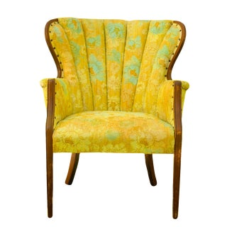 Overdyed Bright Yellow & Aqua Chair