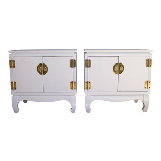 Lane White Lacquered Nightstands - a Pair