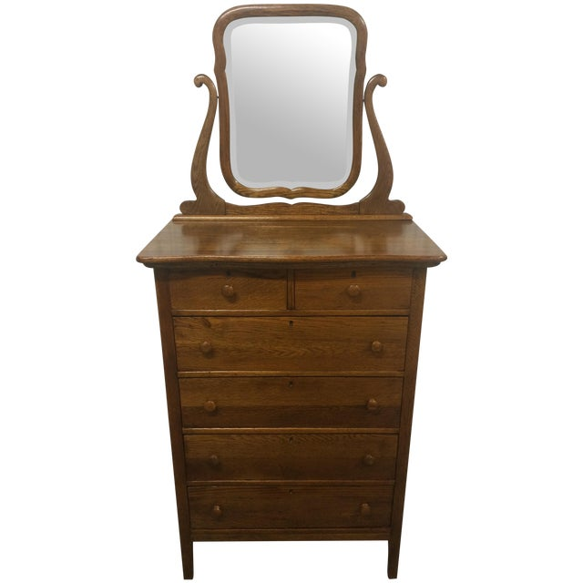 Solid Oak Antique Tallboy Dresser with Mirror - Image 1 of 8