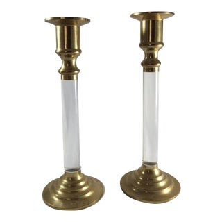 Mid-Century Brass & Lucite Candle Holders - a Pair