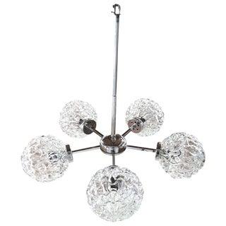 Five-Globe Glass and Chrome Sputnik Chandelier in the Style of Kalmar