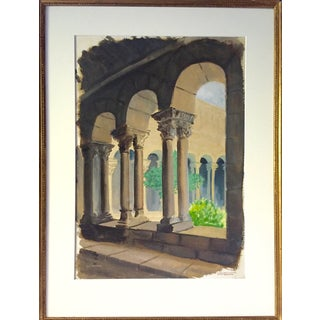 French Columns Watercolor by A.J. Broder