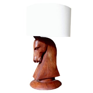 Carved Wood Horse Table Lamps - A Pair