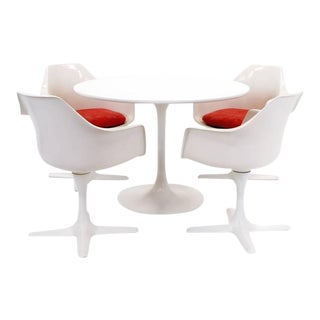 Tulip Table and Four Armchairs by Burke in the Style of Saarinen for Knoll