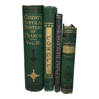 Antique Books With Decorative Victorian Covers - Set of 4